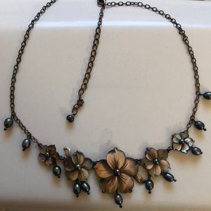 Jewelry - Black pearl necklace on  stealing silver chain